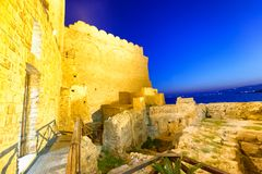 Aerial view of Aragonese Fortress interior at night, Calabria, I. Taly Royalty Free Stock Photography