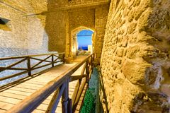 Aerial view of Aragonese Fortress interior at night, Calabria, I. Taly Stock Photo