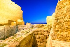 Aerial view of Aragonese Fortress interior at night, Calabria, I. Taly Royalty Free Stock Images