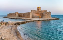 Aerial view of Aragonese Fortress at sunset, Calabria, Italy.  Royalty Free Stock Photo