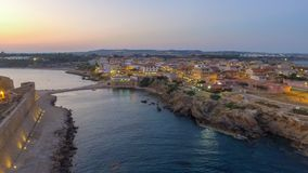 Aerial view of Aragonese Fortress at sunset, Le Castella - Italy.  Royalty Free Stock Photography