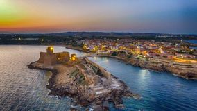 Aerial view of Aragonese Fortress at sunset, Le Castella - Italy.  Stock Image