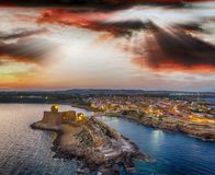 Aerial view of Aragonese Fortress at sunset, Le Castella - Italy.  Stock Photos