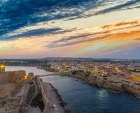 Aerial view of Aragonese Fortress at sunset, Le Castella - Italy.  Stock Photography
