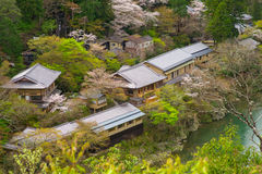 Aerial view of arashiyama, kyoto,  japan. View of arashiyama in spring season with cherry blossom Stock Images