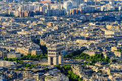 Aerial View of the Arc de Triomphe Royalty Free Stock Photo
