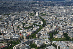 Aerial view of the Arc de Triomphe in Paris. From the Eiffel Tower Stock Image