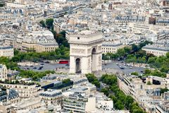 The Arc de Triomphe and the Place Charles de Gaulle in Paris. Aerial view of the Arc de Triomphe and the Place Charles de Gaulle in Paris Stock Image
