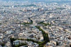 Aerial view on Arc de Triumph. From Eiffel tower, Paris, France Stock Photo