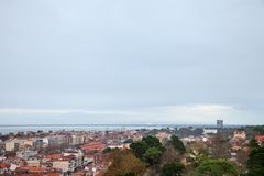 Aerial view of Arcachon, France, during a storm on a cloudy rainy day. Picture of the city of Arcachon, in France, taken from above during a cloudy afternoon Royalty Free Stock Photo