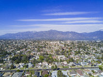 Aerial view of Arcadia. With San Gabriel Mountain view Royalty Free Stock Images