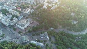 Aerial view of the Arch of Friendship of Peoples in Kiev, Park Vladimirskaya Gorka, St. Michael`s Golden-Domed Monastery