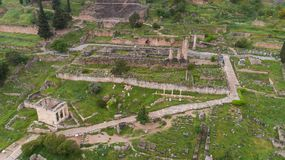 Aerial view of archaeological site of ancient Delphi, site of temple of Apollo and the Oracle, Greece. Aerial view of archaeological site of ancient Delphi, site royalty free stock image