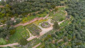 Aerial view of archaeological site of ancient Delphi, site of temple of Apollo and the Oracle, Greece royalty free stock image