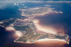 Aerial view of archipelago. In the Persian Gulf Royalty Free Stock Photos