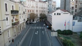 Aerial view of the architecture and street life in Belgrade stock video