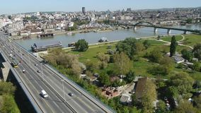 Aerial view of the architecture and street life in Belgrade stock footage