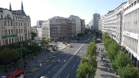 Aerial view of the architecture and street life in Belgrade stock video footage