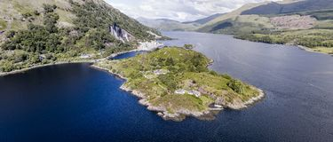 Aerial view of Ardchattam and Bonawe seen from Loch Etive Stock Photography