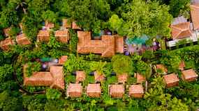 Aerial view area hotel in the jungle. Ubud, Bali, Indonesia stock images