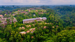 Aerial view area hotel in the jungle. Ubud, Bali, Indonesia royalty free stock image
