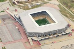 Aerial view of Arena Lviv a modern football stadium in Lviv, Ukraine. It was one of the eight UEFA Euro 2012 venues. stock photo