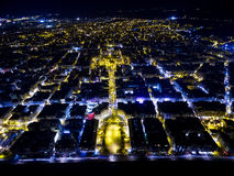 Aerial view of Aristotelous Square and the city of Thessaloniki. Aerial view of Aristotelous Square and the northern Greek city Thessaloniki at night. Image stock images