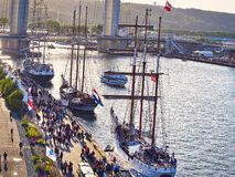 Aerial view of Armada exhibition sailboats at Rouen dock. International meeting for biggest old schooners and frigates in world