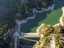 Aerial view of Arminou reservoir, Pafos, Cyprus Stock Photo