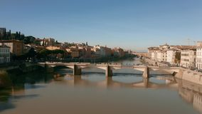 Aerial view of the Arno river and bridges in Florence. Italy. Aerial view of the Arno river in Florence stock video