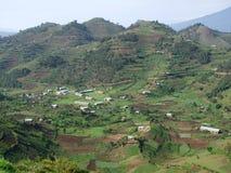 Aerial view around Virunga Mountains in Uganda. Panoramic aerial view around the Virunga Mountains in Uganda (Africa Stock Photography