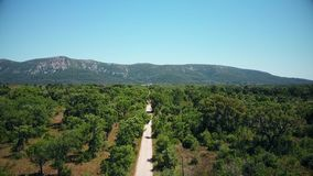 Aerial view of Arrabida Mountains, Setubal, Portugal.  stock video footage