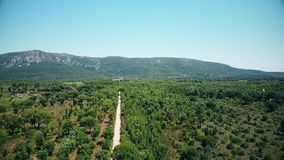 Aerial view of Arrabida Mountains, Setubal, Portugal.  stock footage