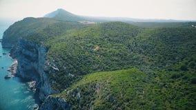 Aerial view of Arrabida Mountains, Setubal, Portugal. Drone footage stock video