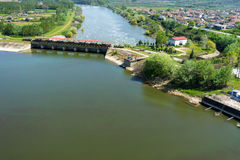 Aerial view of the artificial lake Kerkini and river Strymon Royalty Free Stock Photo