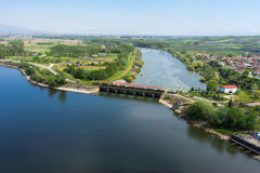 Aerial view of the artificial lake Kerkini and river Strymon Stock Images
