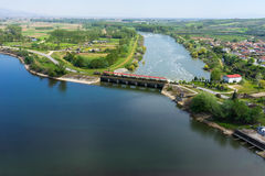 Aerial view of the artificial lake Kerkini and river Strymon Stock Photos