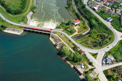 Aerial view of the artificial lake Kerkini and river Strymon Stock Image