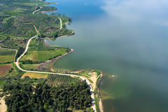 Aerial view of the artificial lake Kerkini and river Strymon Royalty Free Stock Photos