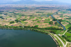 Aerial view of the artificial lake Kerkini and river Strymon Stock Photo