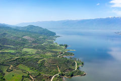Aerial view of the artificial lake Kerkini and river Strymon Royalty Free Stock Photography