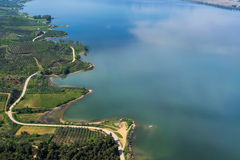 Aerial view of the artificial lake Kerkini and river Strymon Royalty Free Stock Images