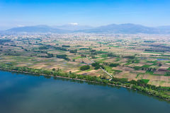 Aerial view of the artificial lake Kerkini and river Strymon Royalty Free Stock Image