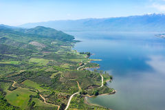 Aerial view of the artificial lake Kerkini and river Strymon Stock Photography