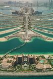 Aerial view of artificial palm island in Dubai. stock photography