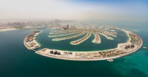 Aerial view of artificial palm island in Dubai. stock images
