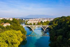 Aerial view of Arve an Rhone river confluent in Geneva Switzerl stock photos