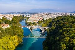 Aerial view of Arve an Rhone river confluent in Geneva Switzerl royalty free stock image