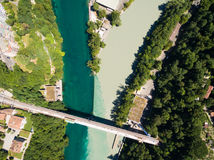 Aerial view of Arve an Rhone river confluent in  Geneva Switzerl Stock Photo