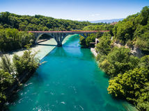Aerial view of Arve an Rhone river confluent in  Geneva Switzerl Stock Images